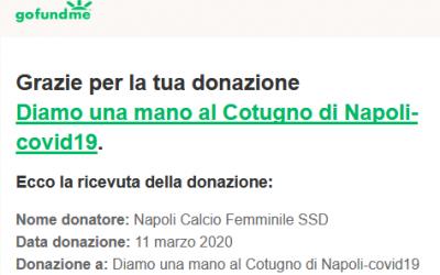 Donazione raccolta fondi per il Cotugno, parte #FacciamoSquadra
